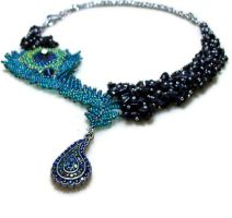Asymmetrical Beaded Peacock Feather Necklace by TerahClassyCreations