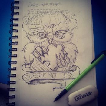 Owl Tattoo sketch WIP by MonteyRoo