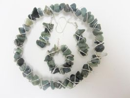 Moss Green and Silver Wire Jewelry Set by Artisticat86