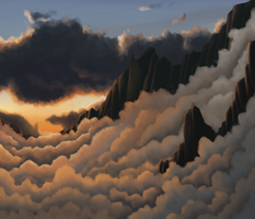 Cloudy mountains by SuperGhostDuck01