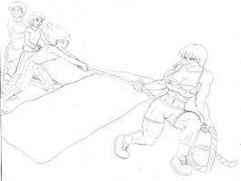 3 on 1 tug of war sketch by tj-caris