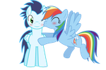 Rainbow Dash kissing Soarin by 3D4D