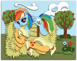 Commission: Appledash Shadowbox Mock-up by The-Paper-Pony