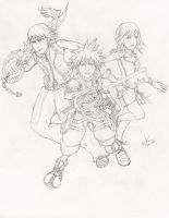 Kingdom Hearts - Sora, Riku and Kairi (Sketch) by wkong