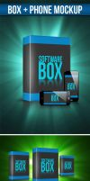 Box and Phone Mock-up by snkdesigns