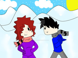 Kyto and Auziee May A snowy walk by ask-kytothehero