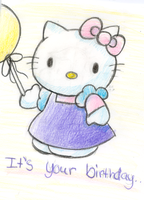 Hello Kitty says Happy B-day by oddspongeout
