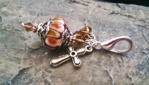 Brown Glass Lampwork Purse Zipper Charm Pull by DesignsByCheree
