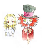 Alice and the Mad Hatter by moutinou