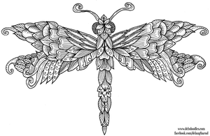 Dragonfly Colouring Page by WelshPixie