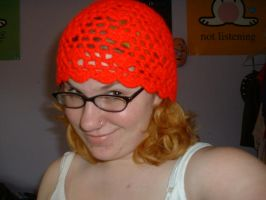 Red crocheted hat by jcfreakish