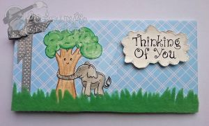 Handmade/Painted 'Elephant Hugs' Card by PossumPip-Creations