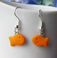 Goldfish Snack Earrings by AsianBunni