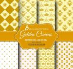 8 Golden Crown Seamless Pattern Backgrounds by fiftyfivepixels