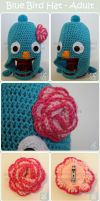 Adult Blue Bird Hat - Commission by moofestgirl