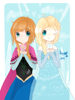 Frozen : Elsa and Anna by Ruunii