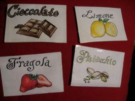 Gelato flavor labels by Flrmprtrix