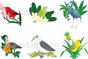 Hawaiian Avifauna and Flora by meihua