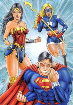 SUPERMAN, WONDER WOMAN and STARGIRL, colorful. by TIAGO-FERNANDES