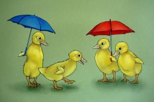 Ducklings with Umbrellas by johannachambers