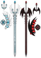 BlueEyes and RedEyes Swords by Mistress-DarkLoki