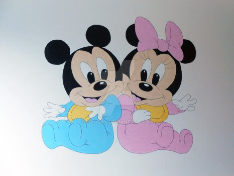 Mickey and Minnie baby mural by Sikorax