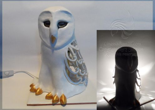 Hand Sculpted Ceramic Owl Lamp by LRJProductions