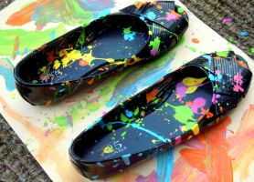 My paint-splattered flats by Ryannethelion