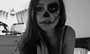 Day of The Dead Stitched Up Skull Look Picture #1 by natalialeamakeup
