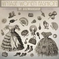 Fashion Clip Art Vintage Women Fashion by DigiWorkshopPixels