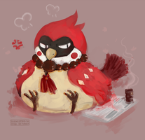 Beni with his tiny tiny coffe and newspaper by AtomicKitten13