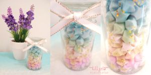 Rainbow Stars - White Ribbon - Gold Glitter by lillyxia