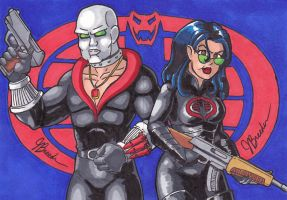 Sketch Card # 26+27 - Destro + Baroness by destinyhelix