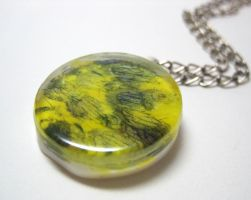Yellow and Purple Art Pendant by ExperienceDesigns