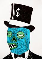 Occupy Wall Street Fat Cat Zombie by MulgaTheArtist