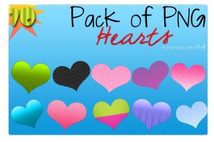 Pack 10 Corazones PNG by YasWorld