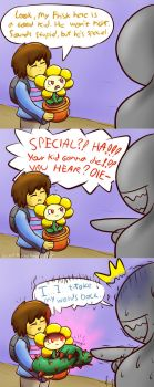 What Flowey Thinks About Frisk by SecretMaskedBurger