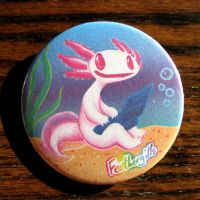 Axolotl button (with apologies to Lisa Frank) by feathergills