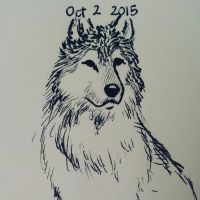 Inktober day 2 - wolf by meihua