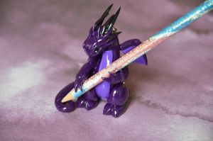 Purple Dragon Pencil Holder by redninjacreations