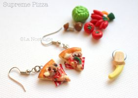 Miniature Pizza Supreme Flavor Food Jewelry by LaNostalgie05