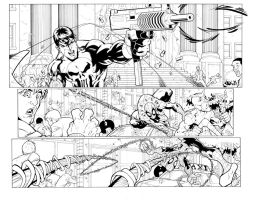 Spiderman two page spread inks by Robo-Bug