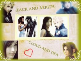 zack and aeris cloud and tifa by finaldreams7