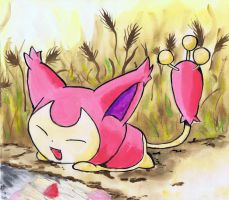 Skitty watercolor on canvas by LightningChaser