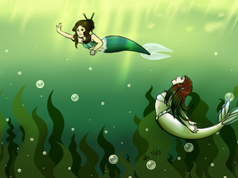 Mermaid Grace and Brittany by luigirules64