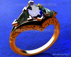 3D Elegant three stone ring by BrotherlyFluff