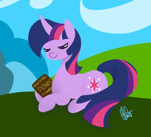 Twilight with a book by ClairClairSky