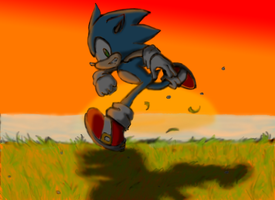 Sonic in the Sunset by Aerobian-Angel