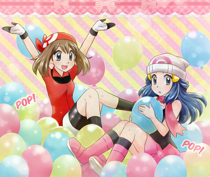 May and Dawn on balloons party - Commission by chikorita85