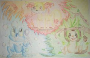 Chespin, Fennekin and Froakie Draw in paper by ChibiWendy
